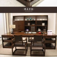 新中式书桌实木办公桌椅组合电脑桌写字台书房配套家具支持定制