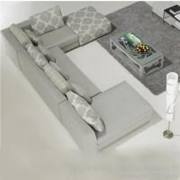达维德布艺沙发 家具 耐脏亚麻布 简洁现代  转角S5056 四件套特