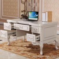 欧式实木书桌白色 书椅 新古典电脑桌 法式办公桌 写字台 书柜