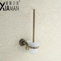 夏曼  卫生间不锈钢马桶刷架清洁套装  酒店厕所马桶杯