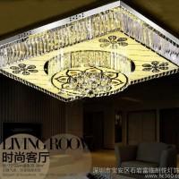 水晶现代简约卧室灯长方形客厅led吸顶灯具860直销