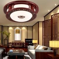 现代中式吸顶灯简约实木雕花圆形客厅卧室餐厅亚克力灯具仿古灯饰
