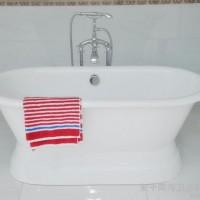 铸铁豪华浴缸 带底座的双头圆浴缸 搪瓷盆 独立式浴缸